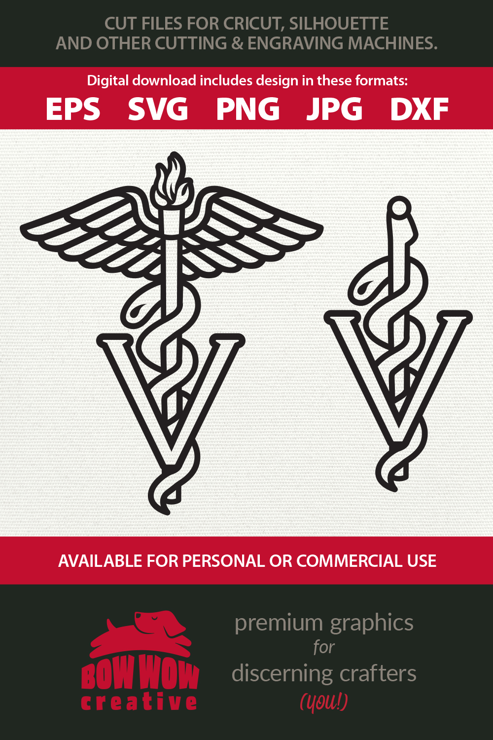 Veterinarian Caduceus Medical Staff - SVG, EPS, PNG, DXF example image 2