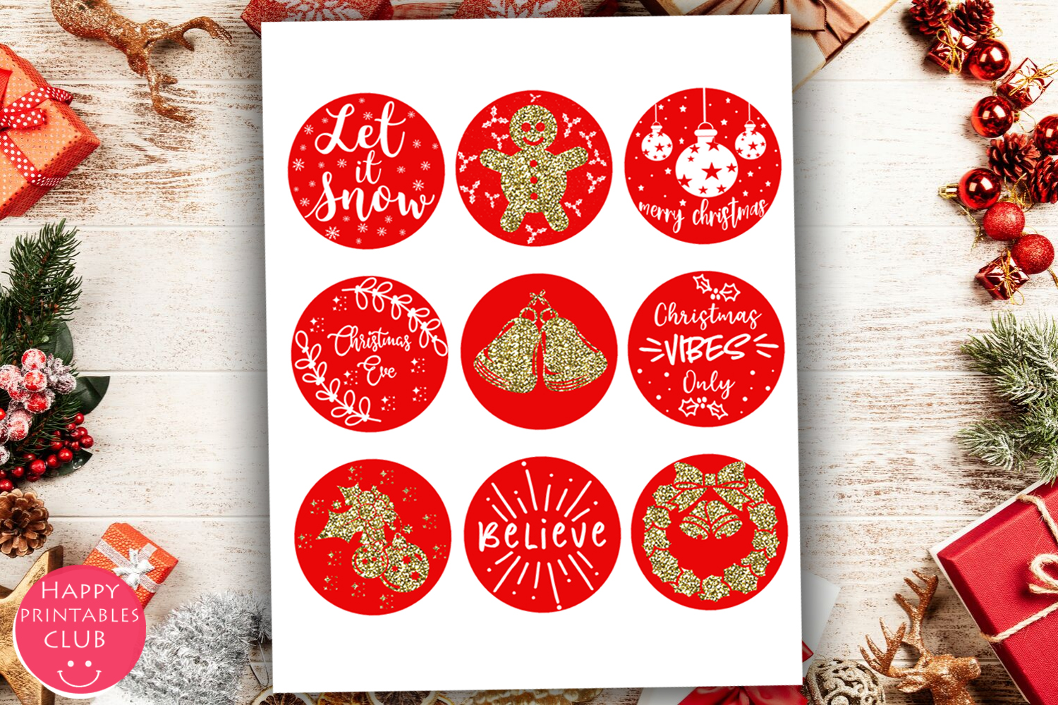 Cute Christmas Round Stickers- Holiday Round Stickers example image 3