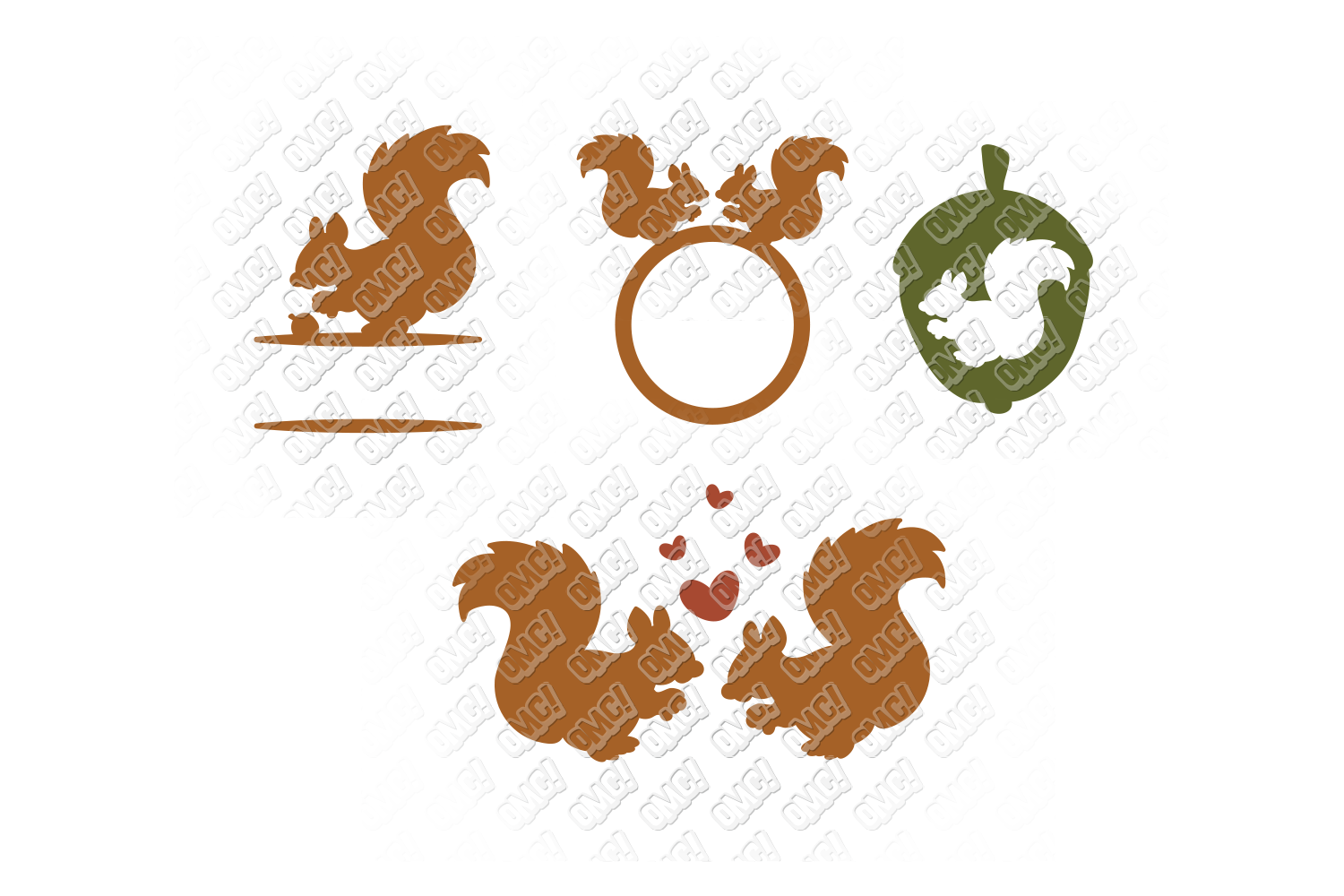 Squirrel SVG Monogram Face in SVG, DXF, PNG, EPS, JPG example image 4