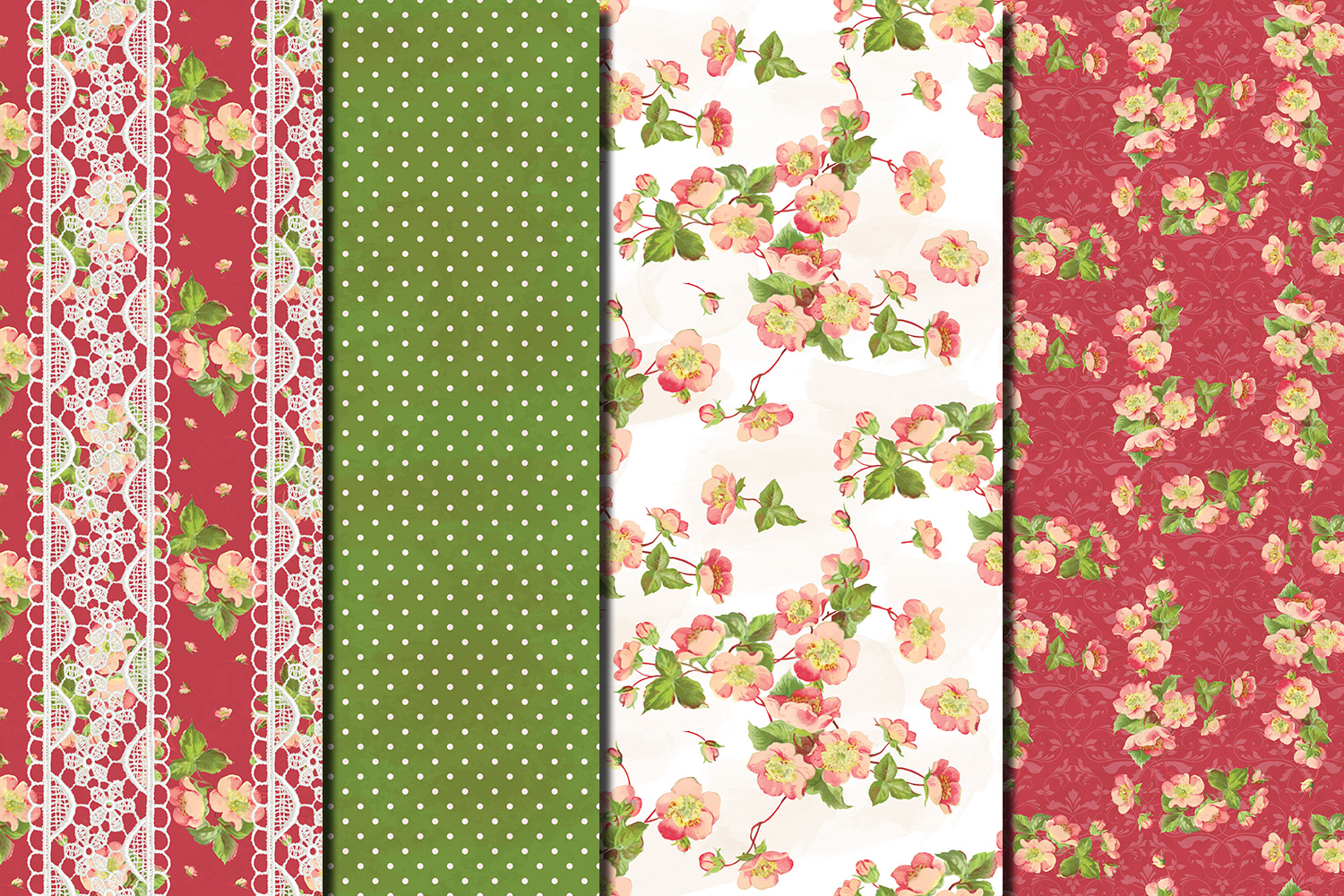 Shabby chic pink roses seamless patterns example image 3
