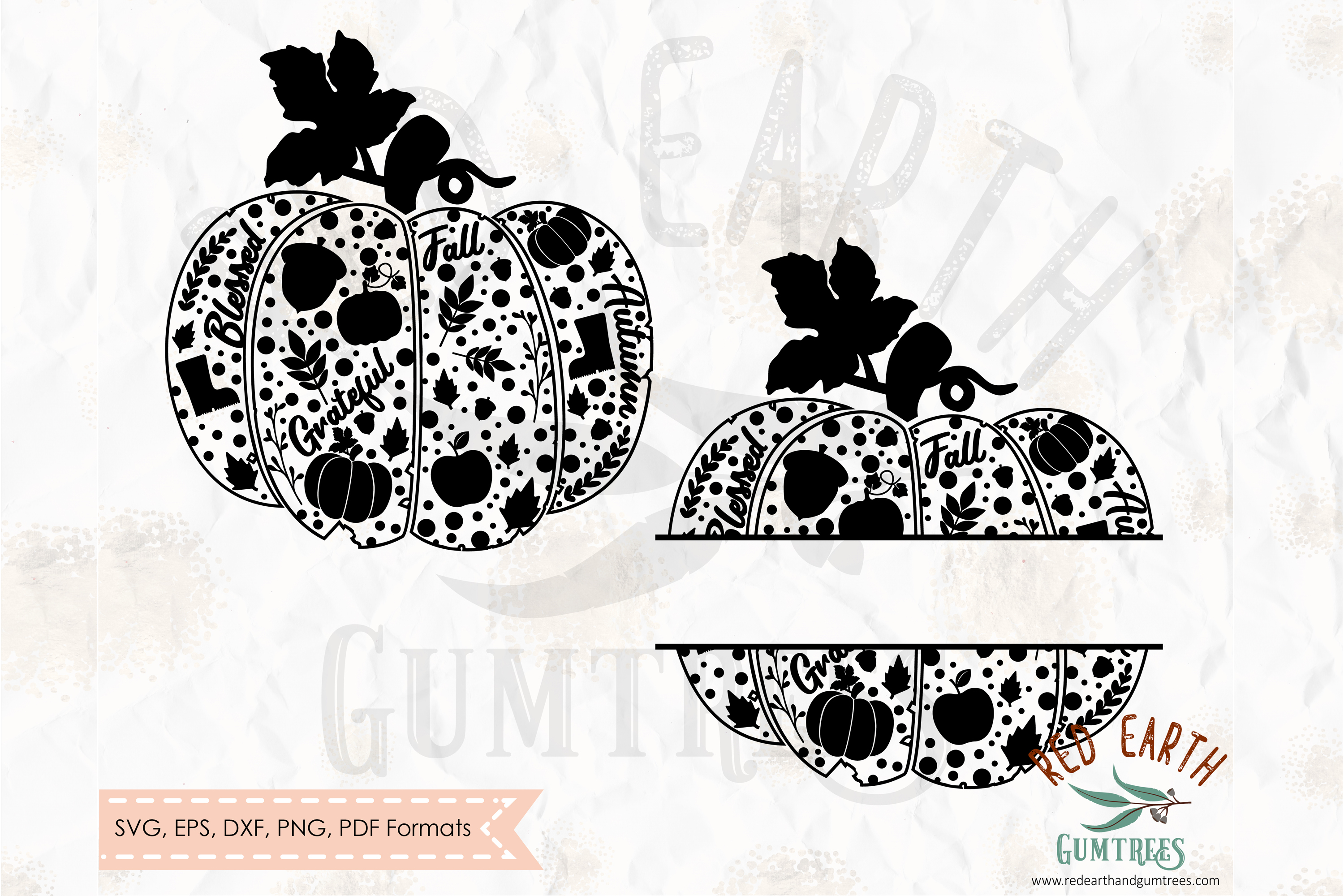Pumpkin split monogram frame, Pumpkin decorated SVG,DXF,PNG example image 1