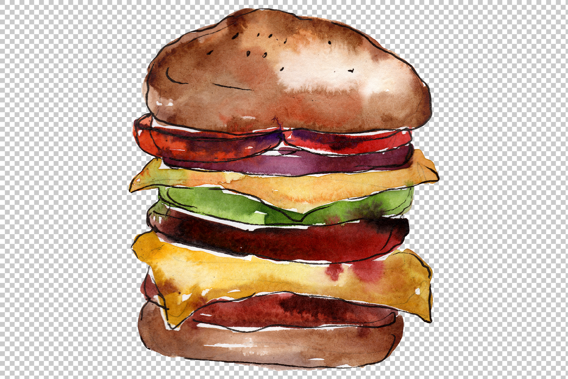 Hamburger black crunchy Watercolor png example image 6