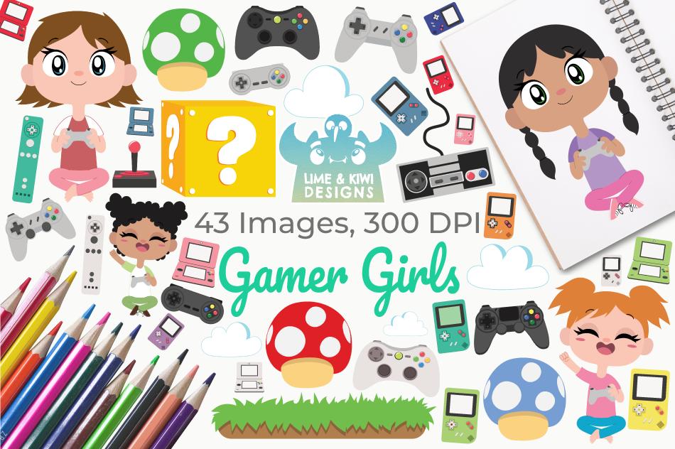 Gamer Girls Clipart, Instant Download Vector Art example image 1