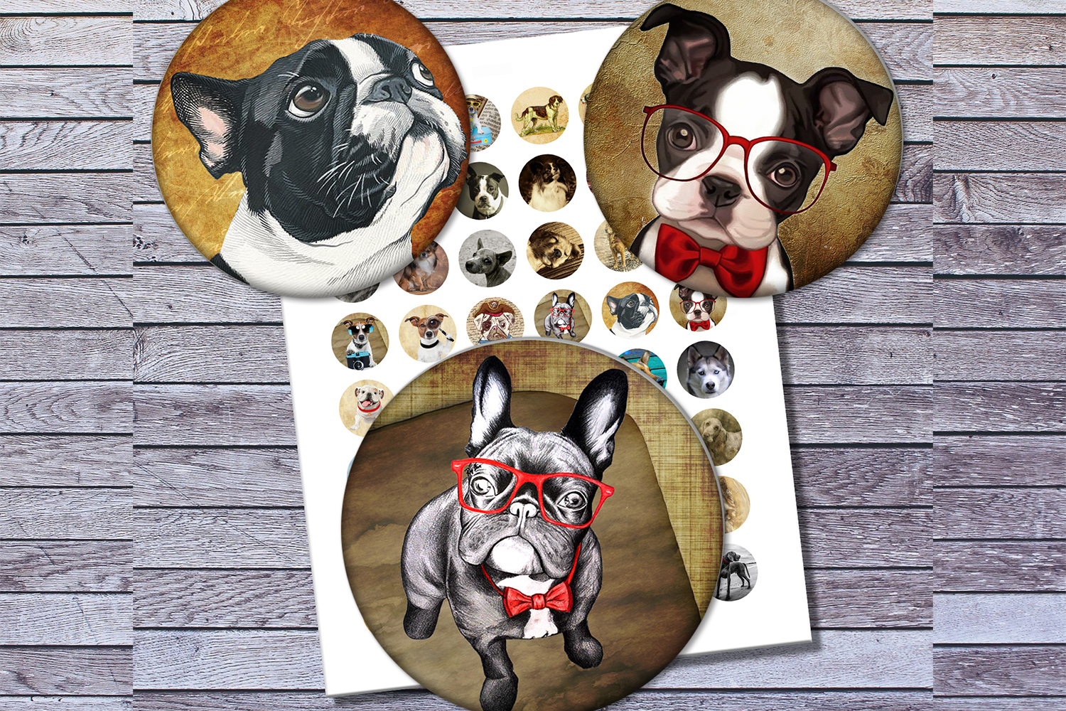 Vintage Dogs, Dogs Images, Digital Collage Sheet, Printables example image 1