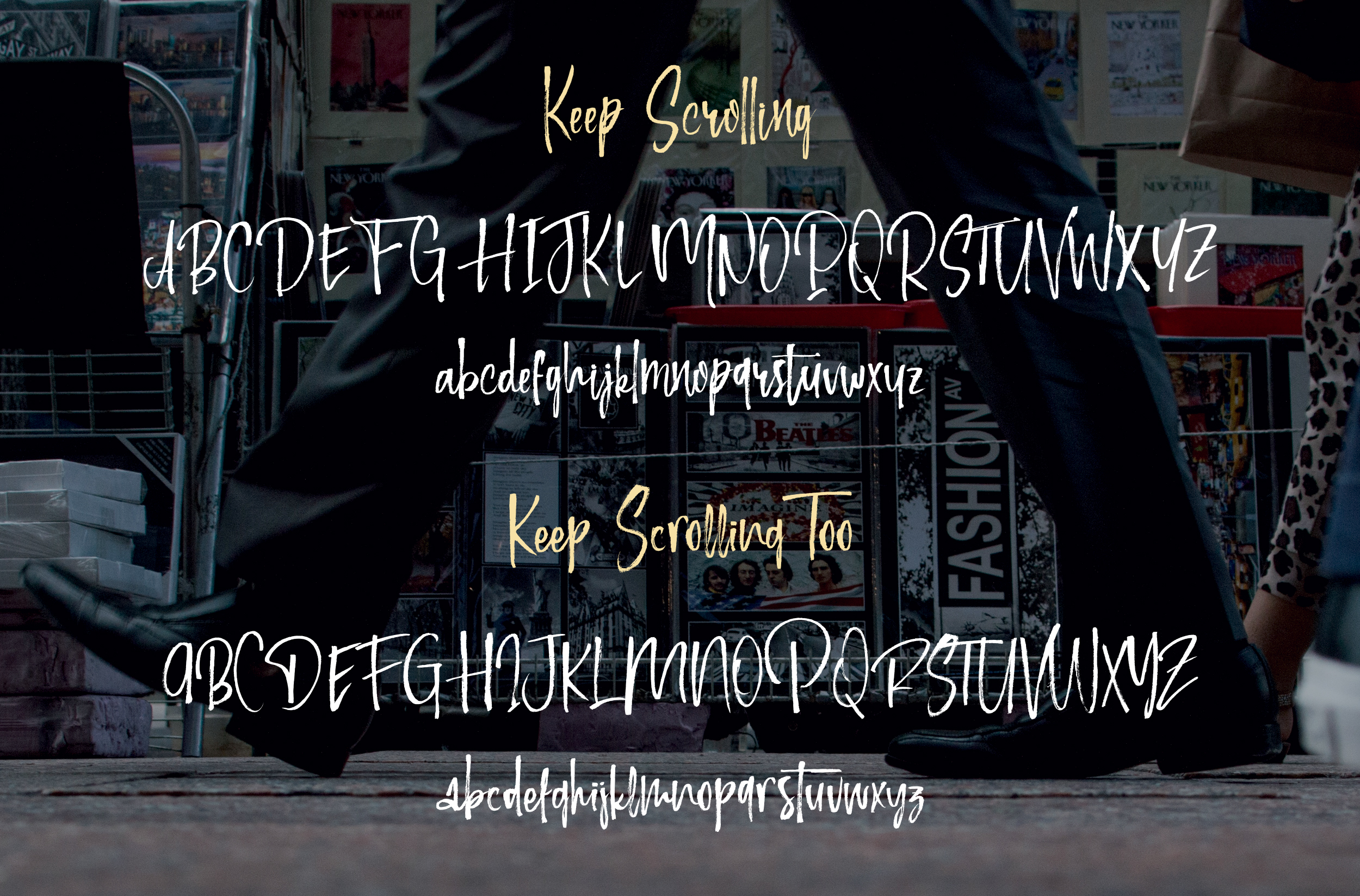 Keep Scrolling handwritten font example image 9