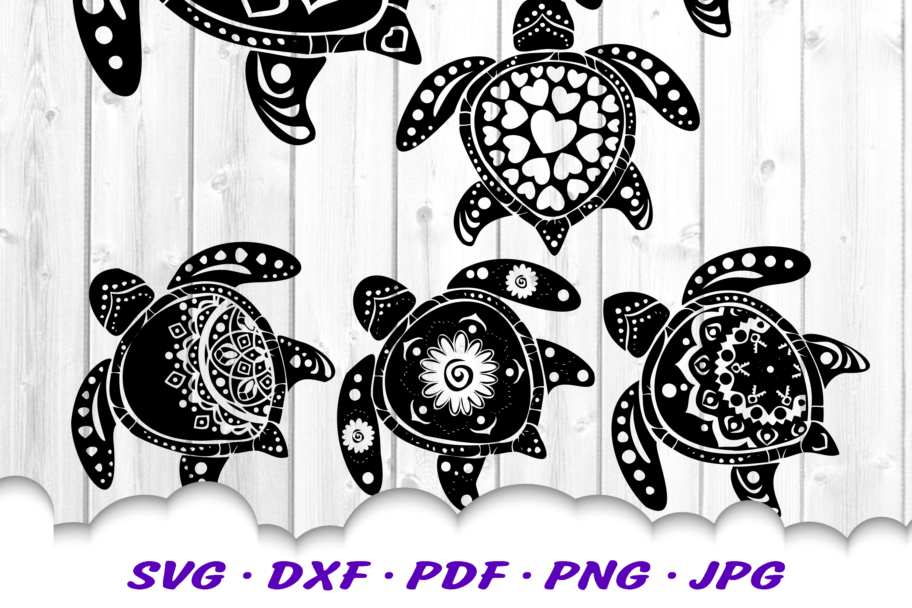 Mandala Sea Turtle SVG DXF Cut Files Bundle example image 3
