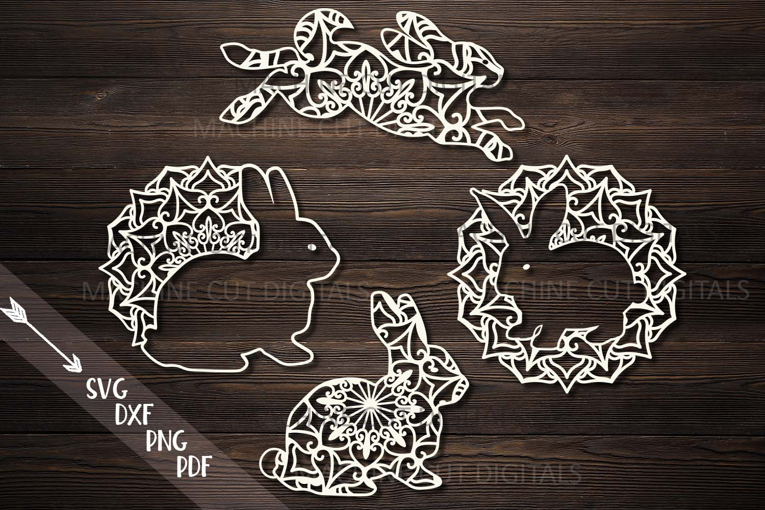 Mandala Easter bunnies cut out set svg dxf pdfcutting files example image 1