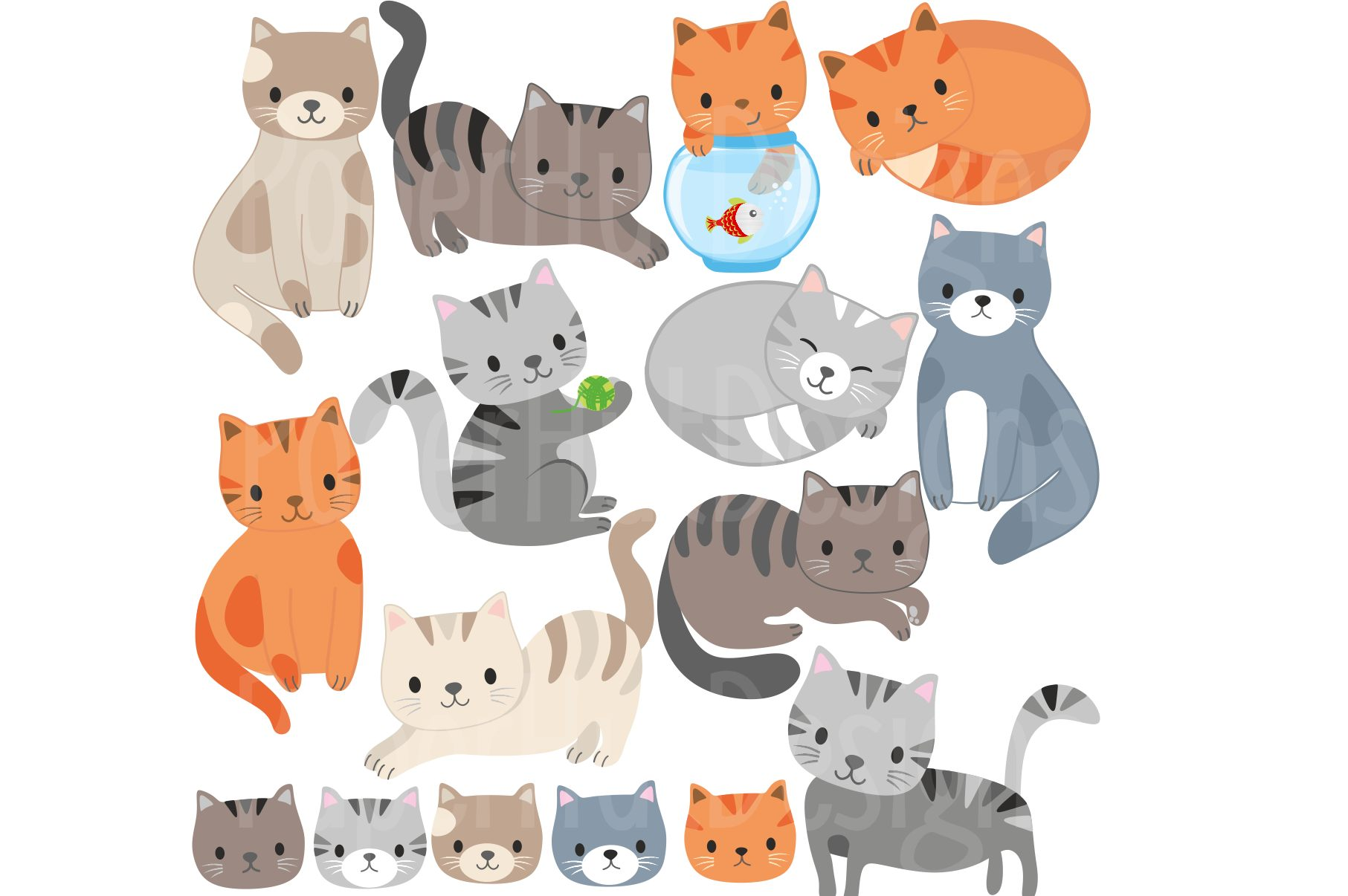 Cute Cat Clipart example image 2
