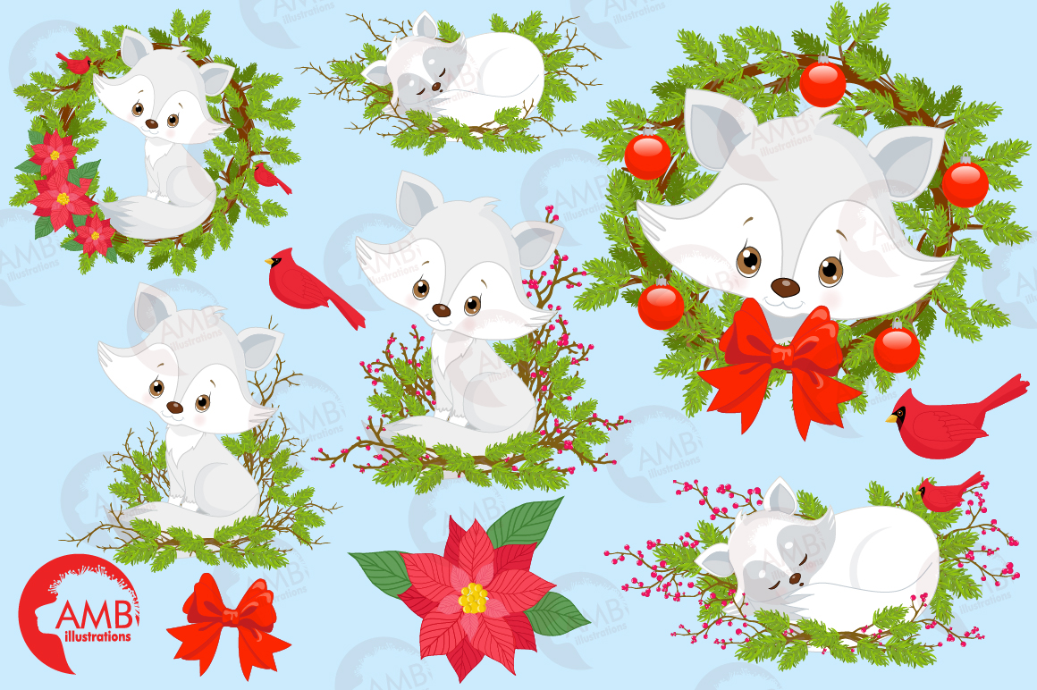 Winter Foxes cliparts, graphics, illustrations AMB-2298 example image 5