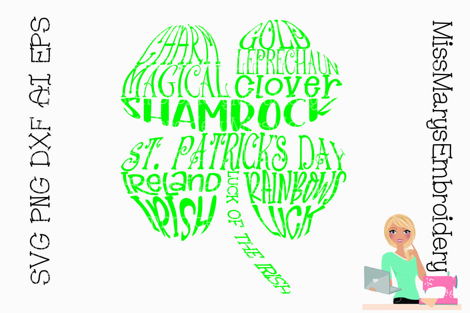 Four Leaf Clover Word Art SVG Cutting File PNG DXF AI EPS example image 1