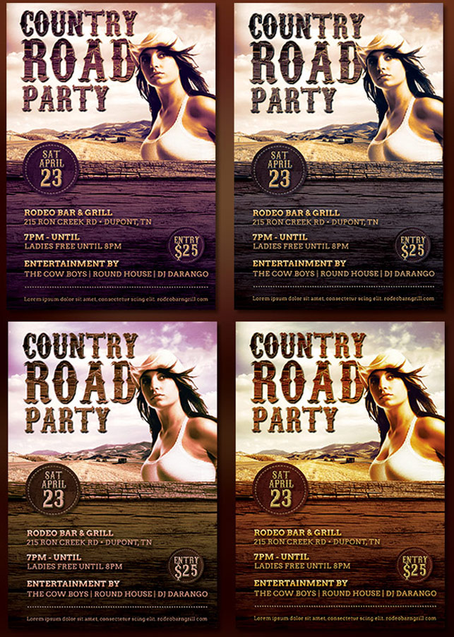 Country Road Party Flyer Template example image 5