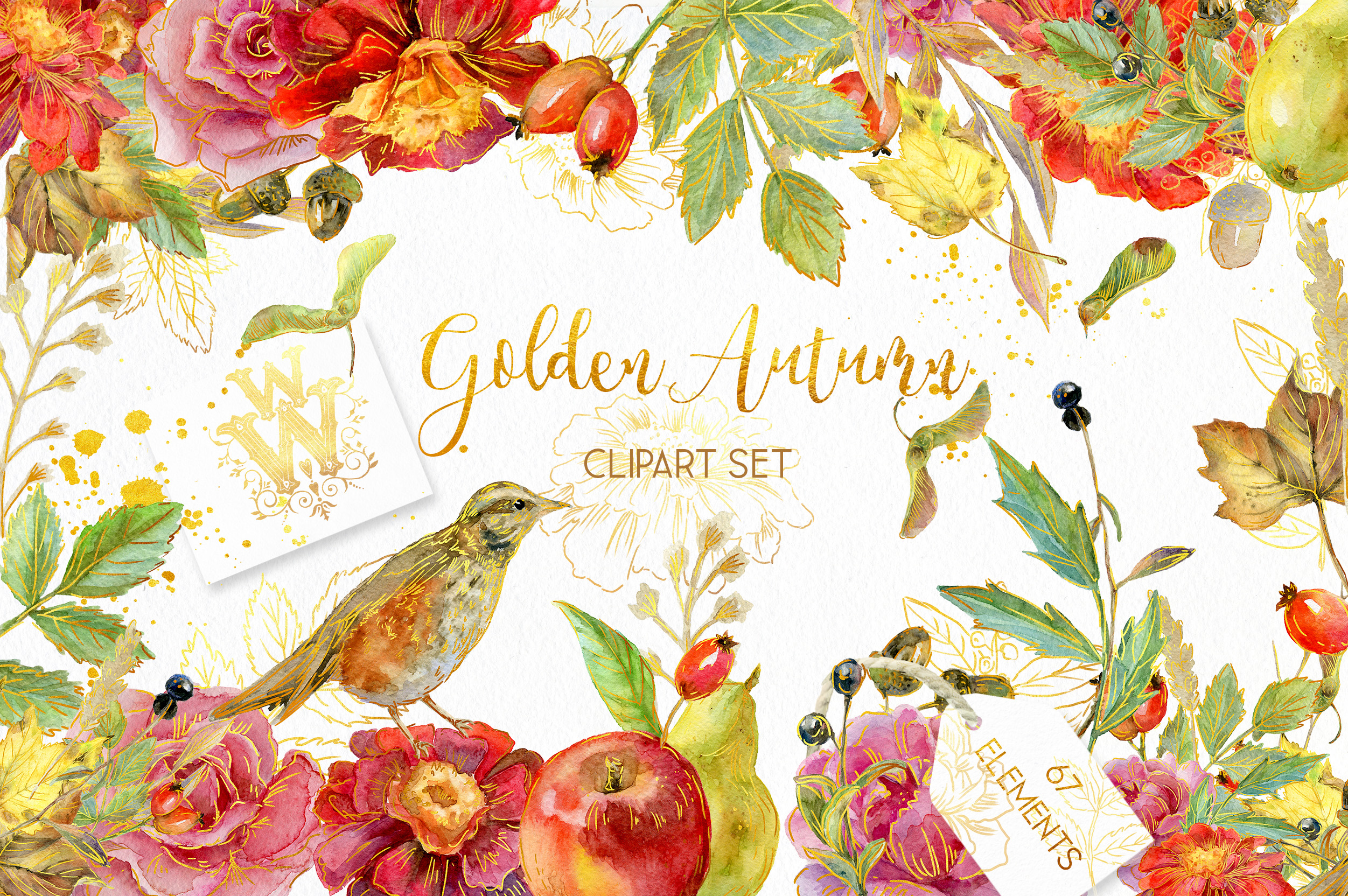 Golden Autumn clipart, Thanksgiving floral clip art example image 1