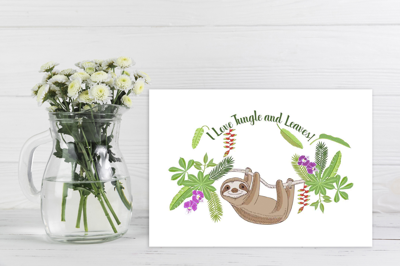 Sloths in Jungle Digital Clipart example image 9
