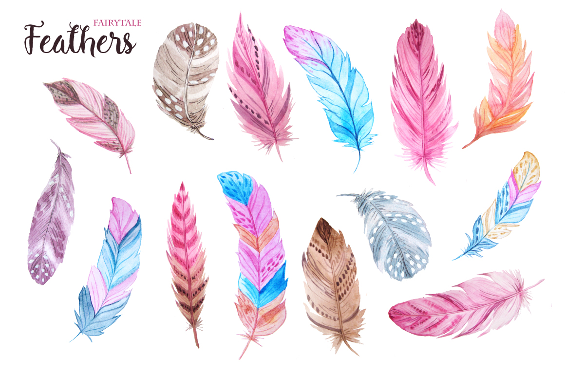 Watercolor Fairytale Feathers Set example image 2