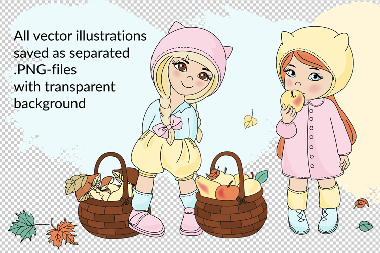 AUTUMN Vecor Clipart & Digital Print Set example image 3