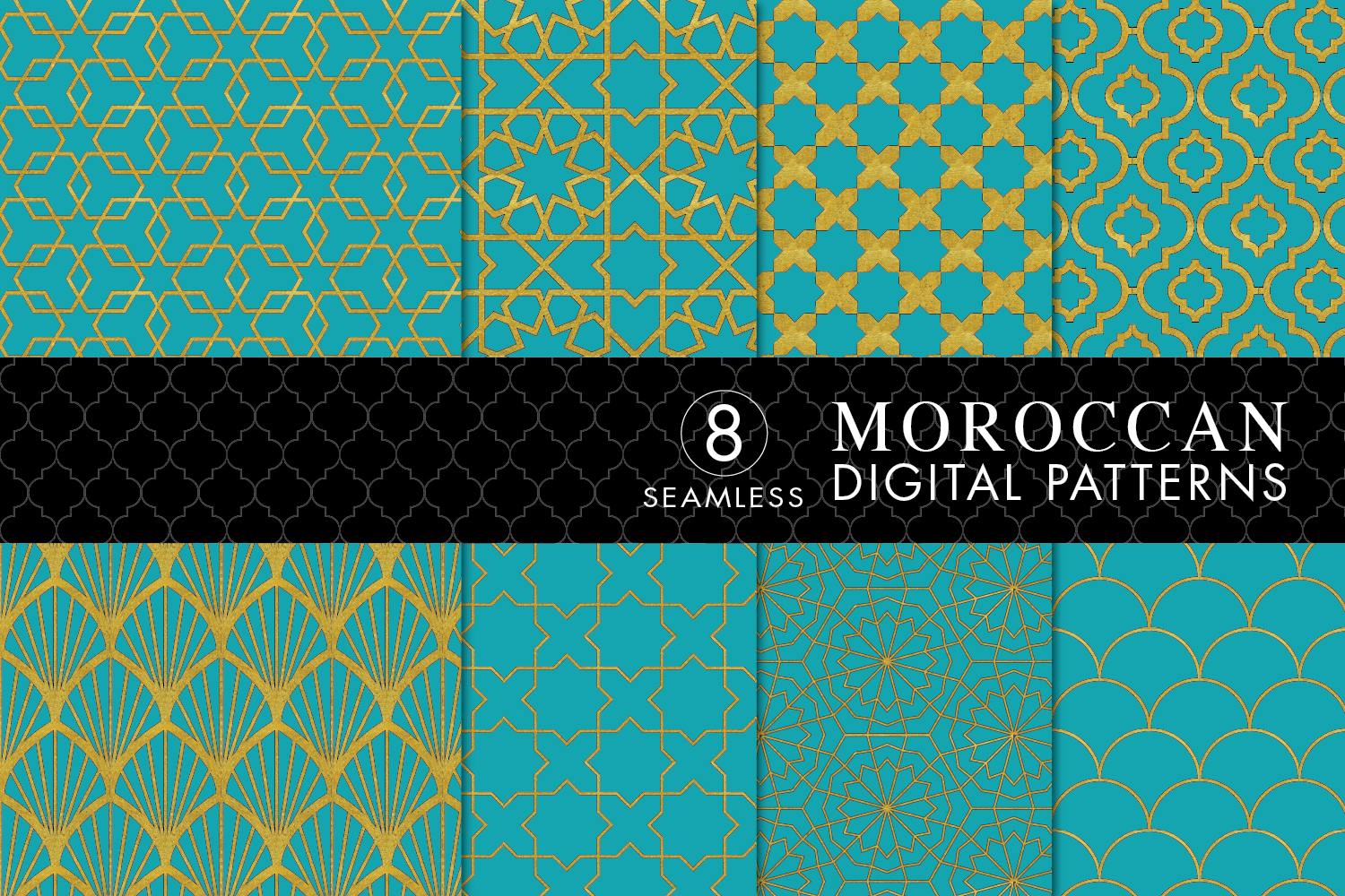 8 Seamless Moroccan Patterns - Gold & Turquoise example image 1