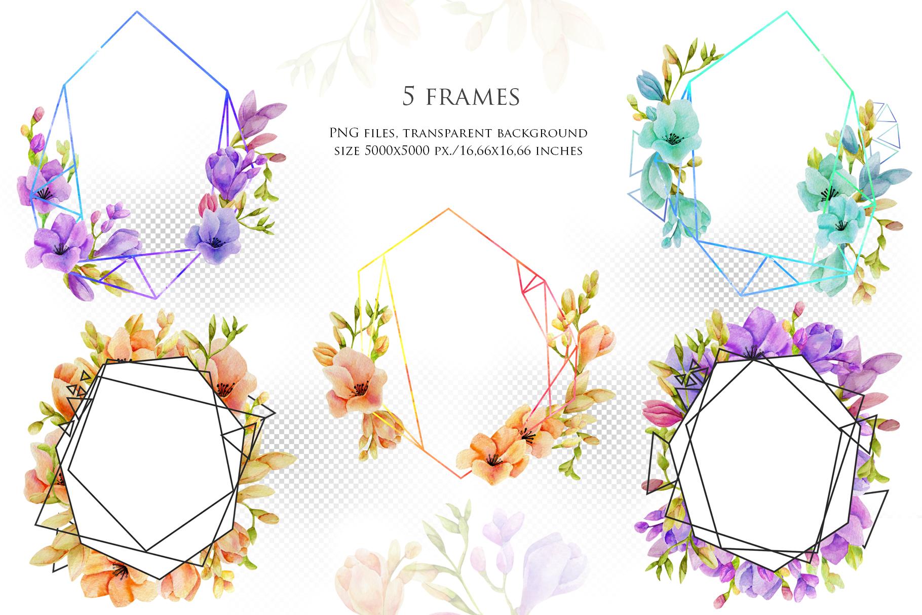 Freesia. 5 geometric frames example image 2