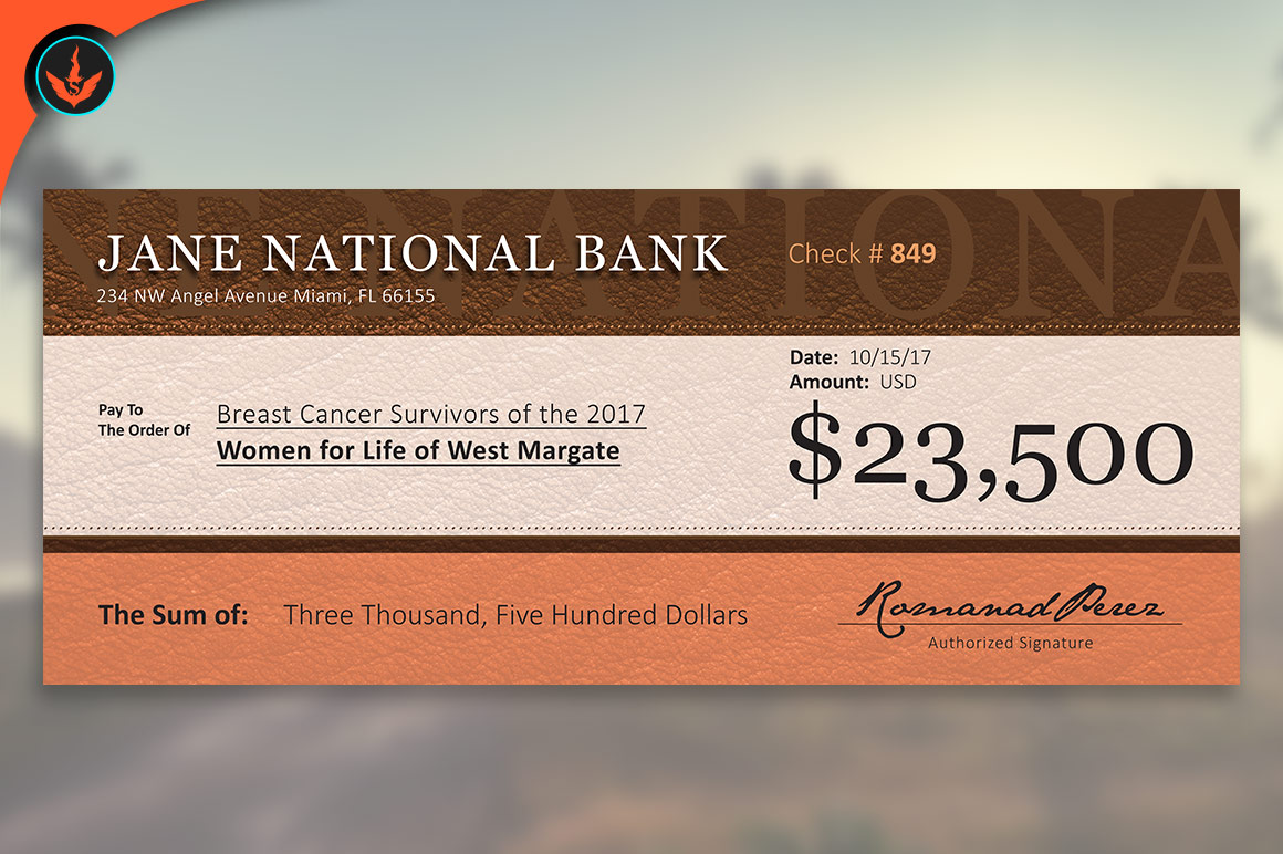 large leather charity check template
