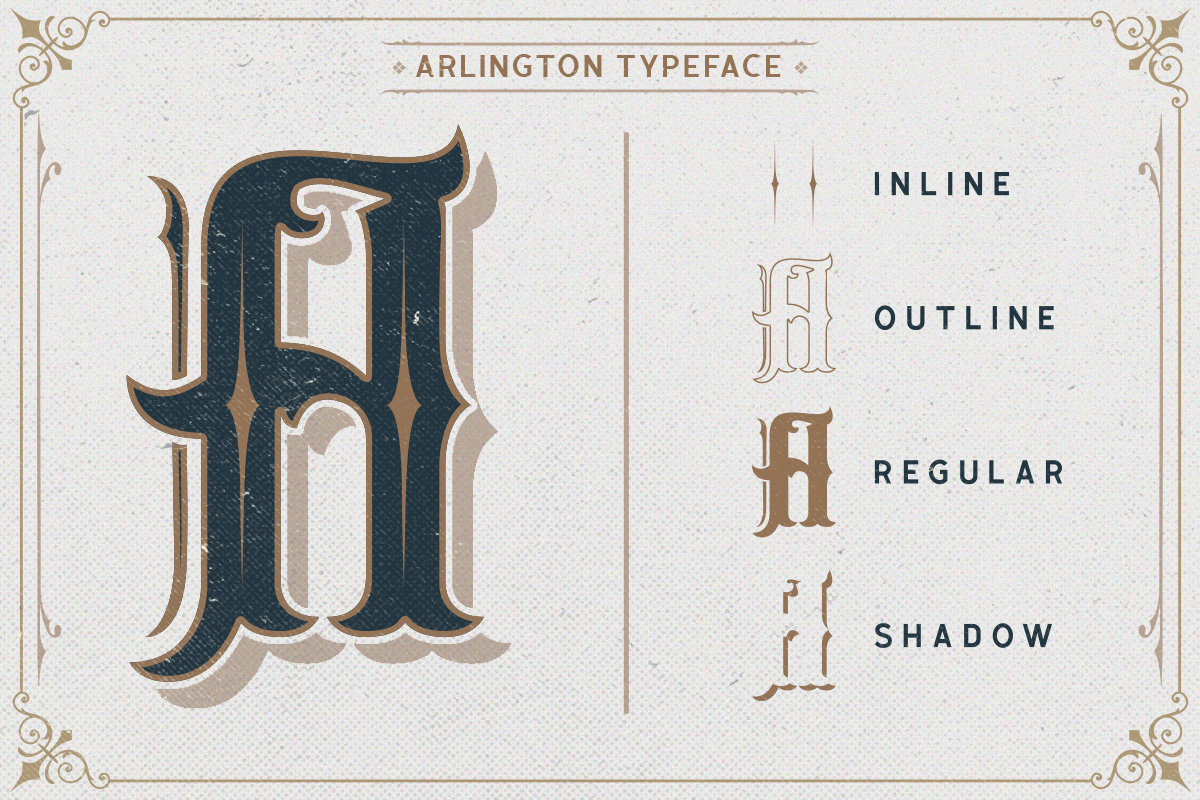 Arlington Layered Font & Ornaments example image 6