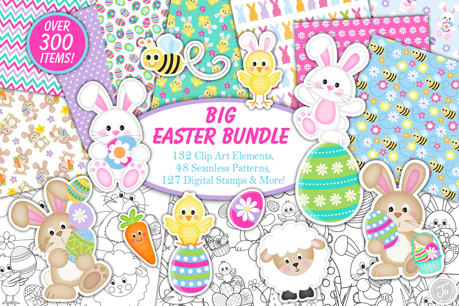 easter bundle, Easter bunny graphics and illustrations example image 1
