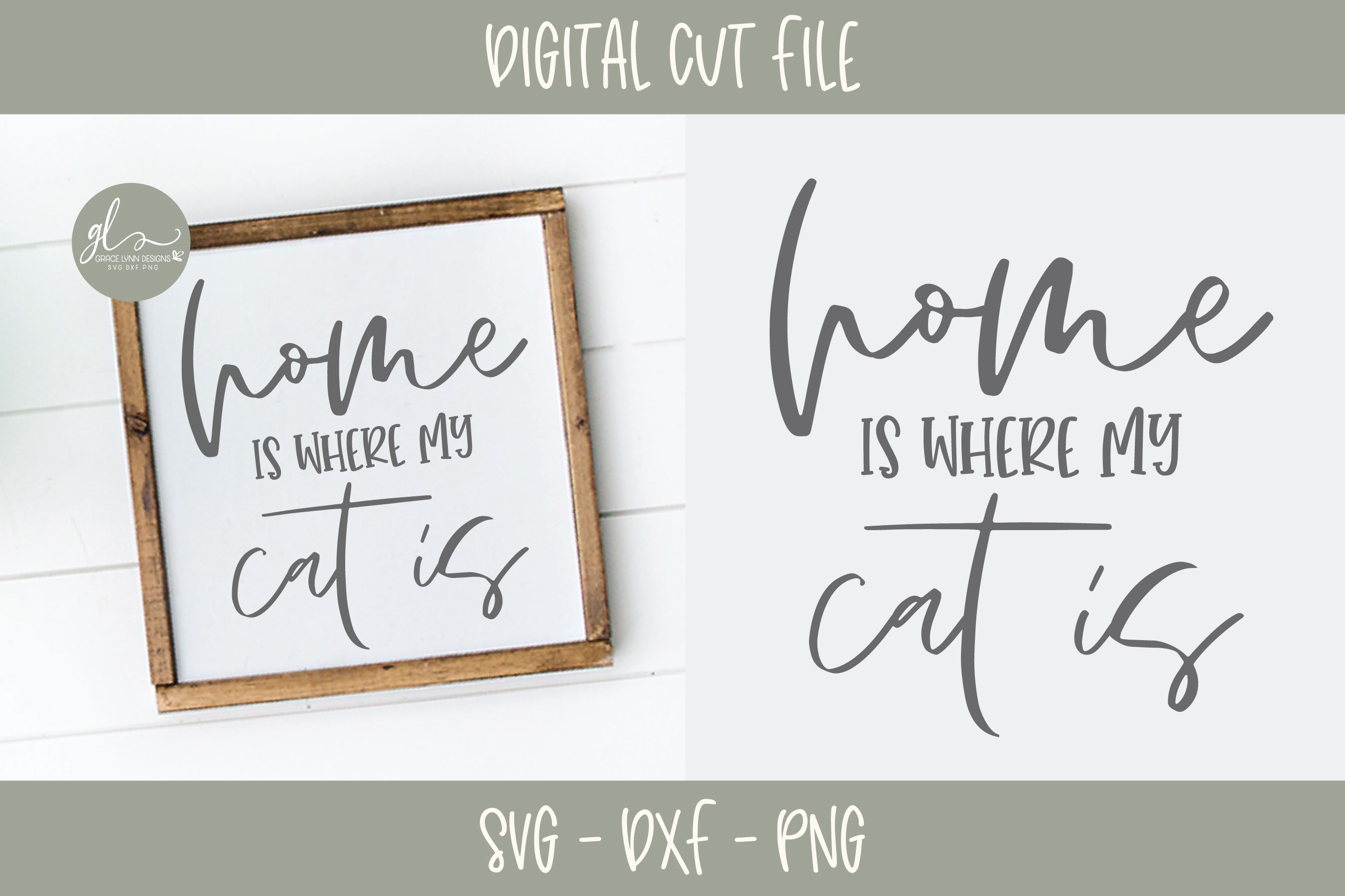 Home Is Where My Cat Is - SVG Cut File example image 1