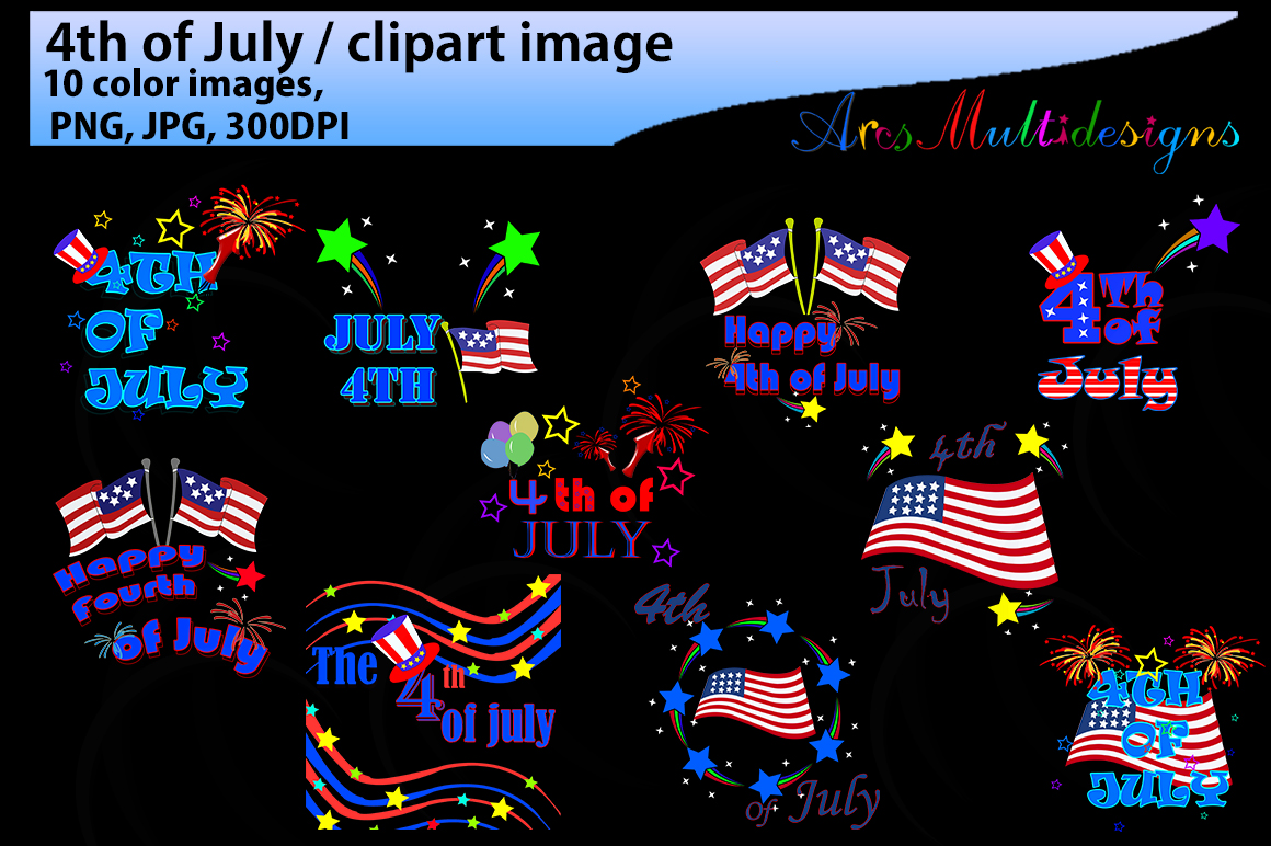 4th of july / 4th of july clipart / fourth of july clipart silhouette / happy 4th of july /JPG / PNG example image 1