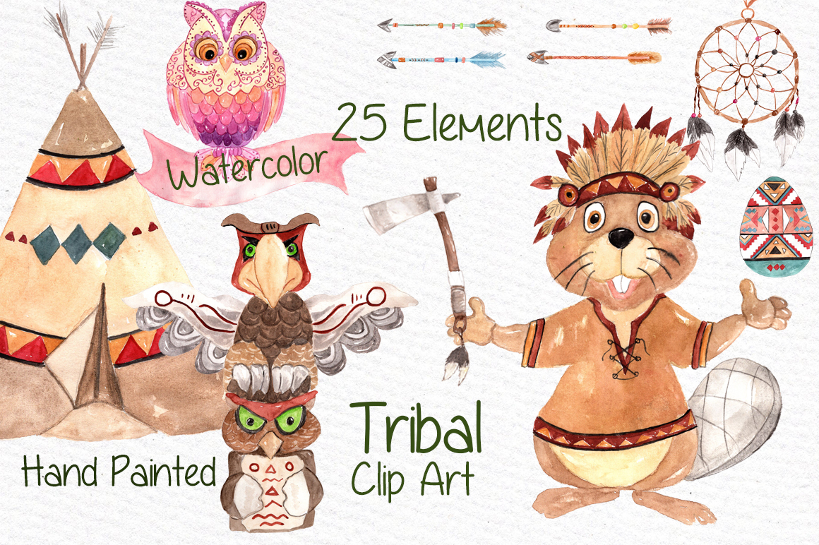Watercolor kids tribal clipart example image 1