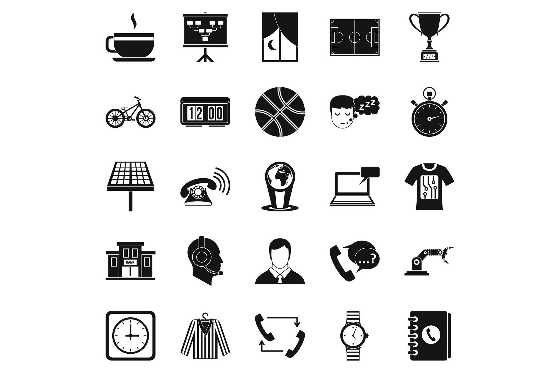 Timepiece icons set, simple style example image 1