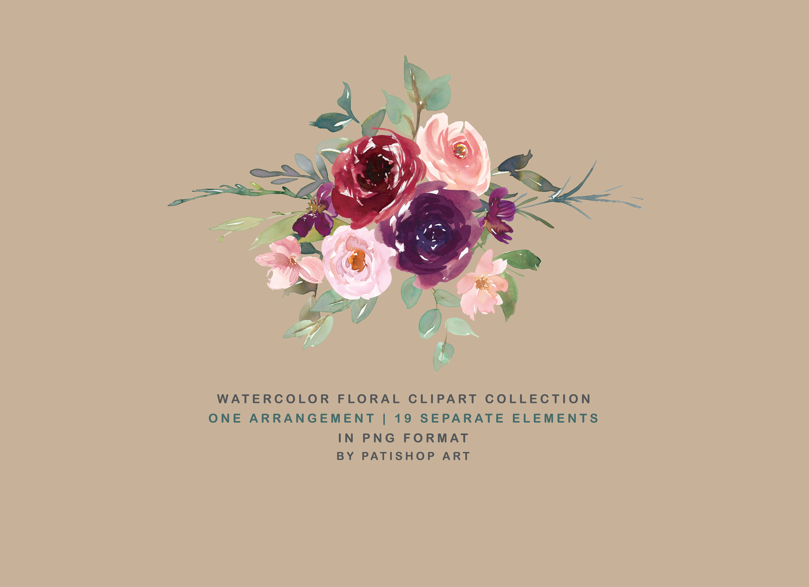 Burgundy Purple and Blush Watercolor Floral Clipart Set example image 5