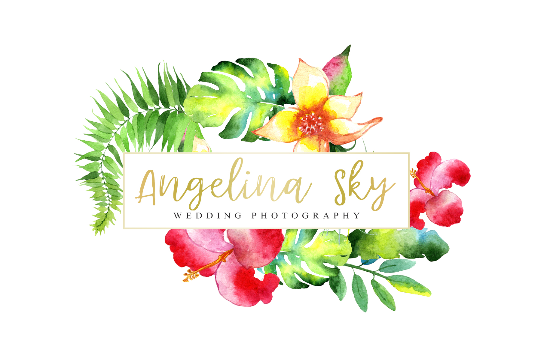 LOGO with bright tropical flowers Watercolor png example image 4