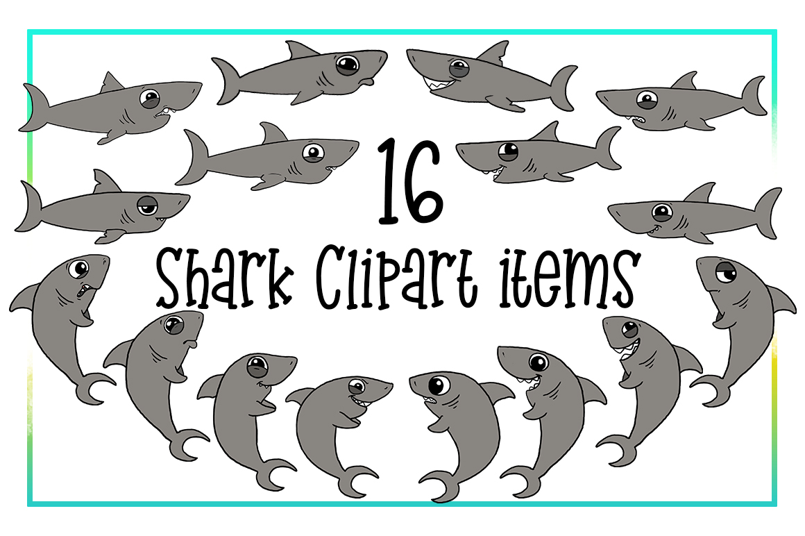 Shark Clipart- Nautical Clipart-Emotions Clipart-Cartoon-Sticker Clipart-Digital-Shark week-Shark Art-Funny-Digital Sloth-Sloth Drama-Commercial example image 2