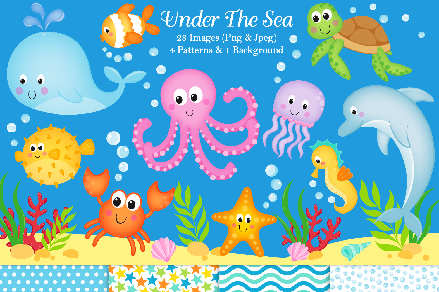 Under the sea clipart, Under the sea graphics & illustration example image 1