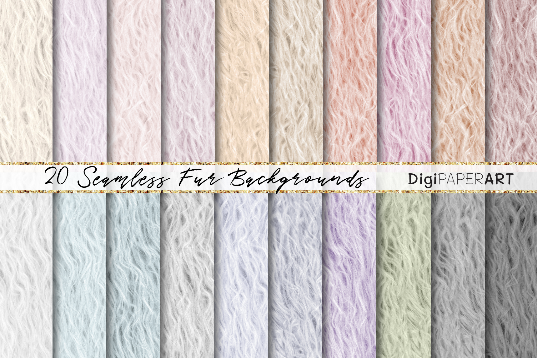 Fur Seamless Backgrounds, Pastel Colors Fur Digital Paper example image 1