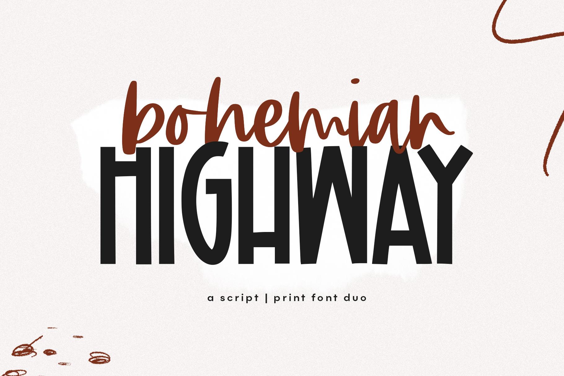 Bohemian Highway - A Print/Script Handwritten Font Duo example image 1
