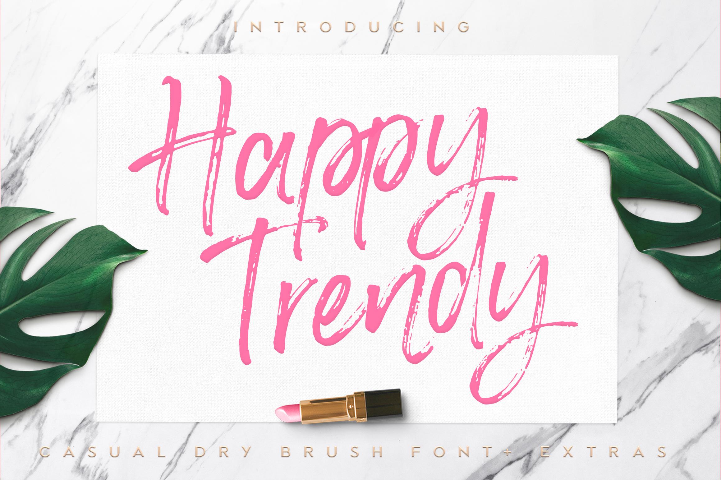 Happy Trendy Font + Extras example image 1