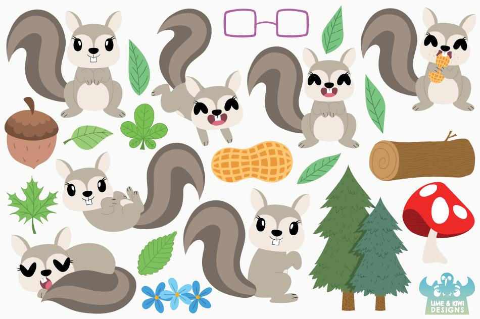 Squirrel Girls Clipart, Instant Download Vector Art example image 2