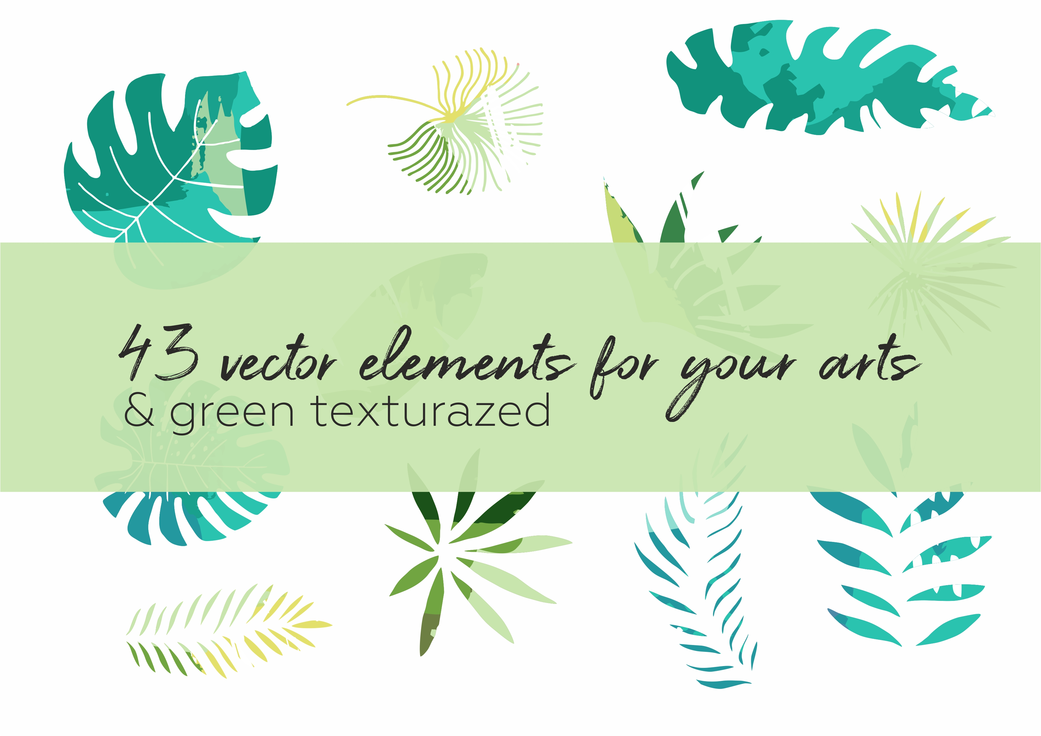 Hide in tropical leaves! Summer hand drawn patterns set example image 4