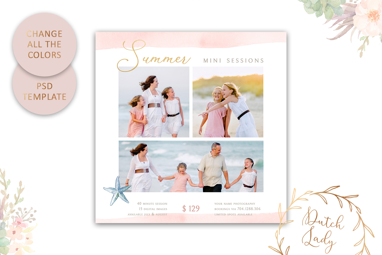 PSD Photo Summer Beach Mini Session Card Template - #42 example image 4