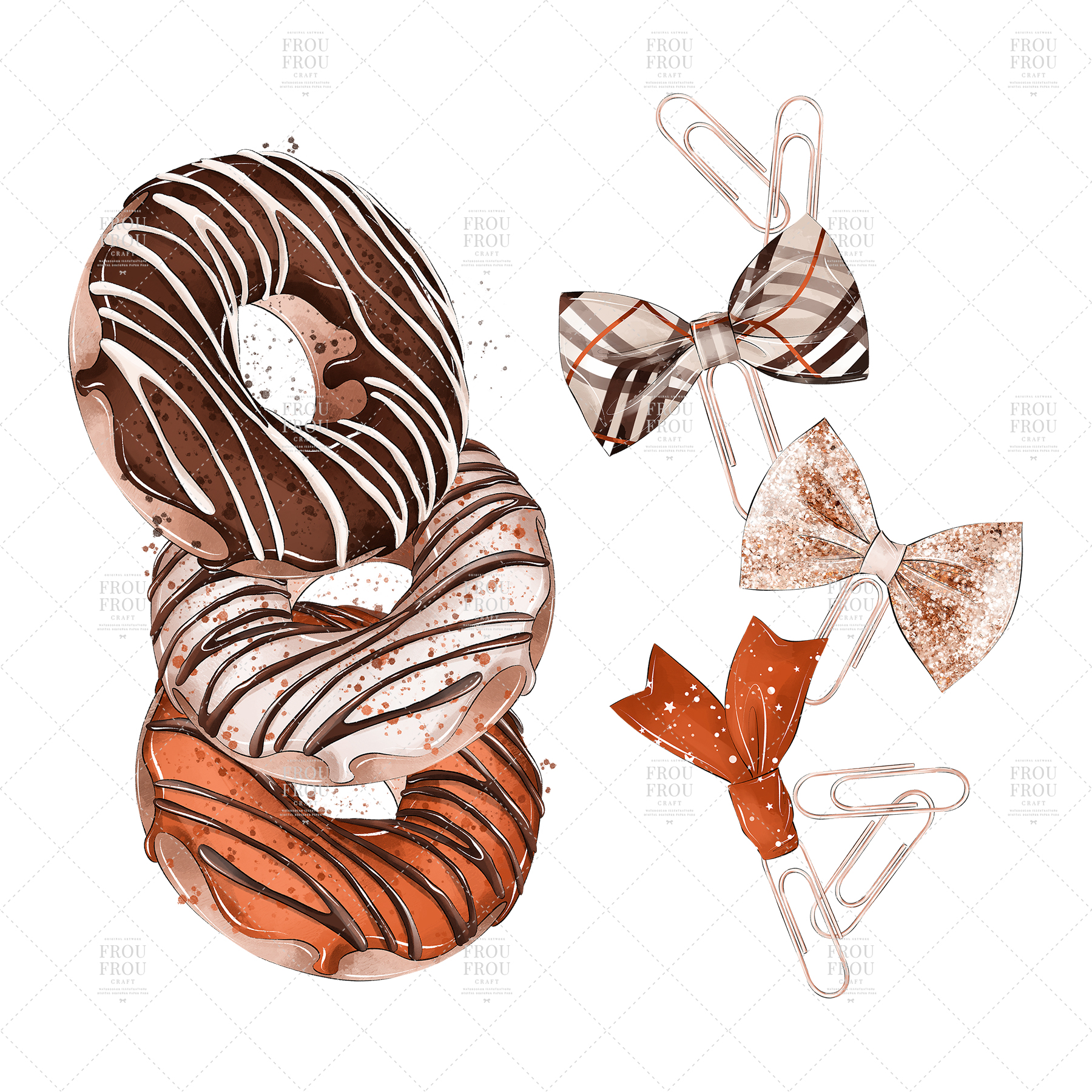 Coffee Lover Milkshake Donut Fall Autumn Clip Art example image 4