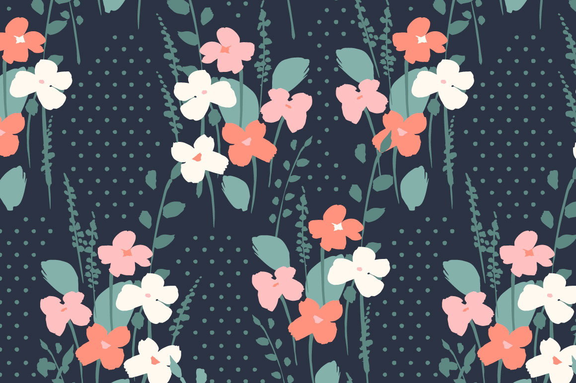 Cute flowers. 10 seamless patterns. example image 9