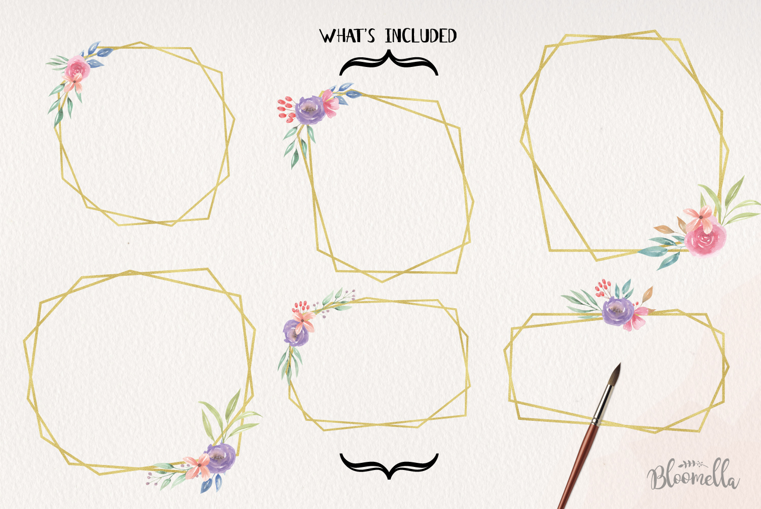 Watercolor Frames Set Flowers Gold Leaves Borders example image 4