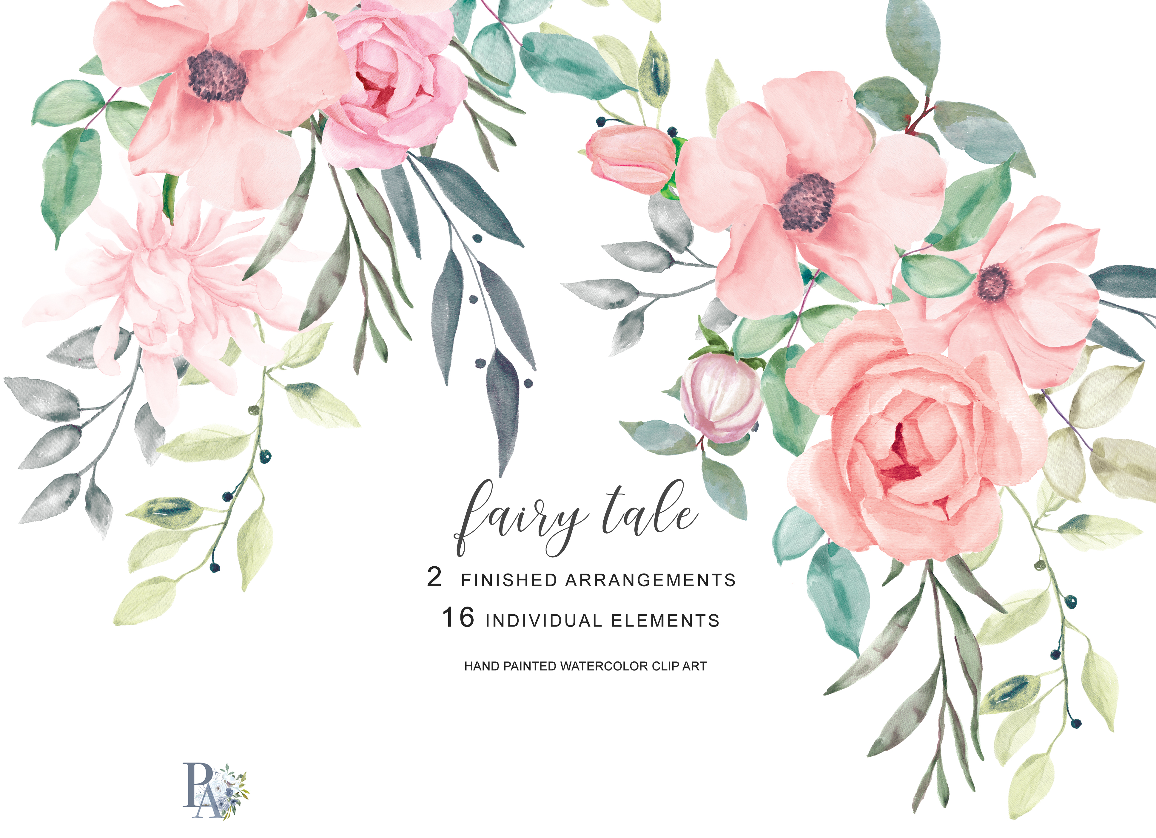 Blush Watercolor Flowers Clipart (77212) | Illustrations ...