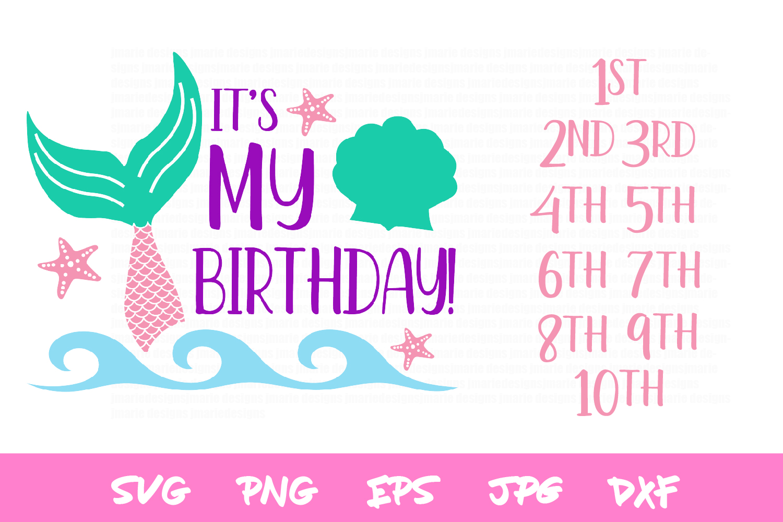 birthday svg, mermaid svg, sublimation, silhouette, cricut example image 2