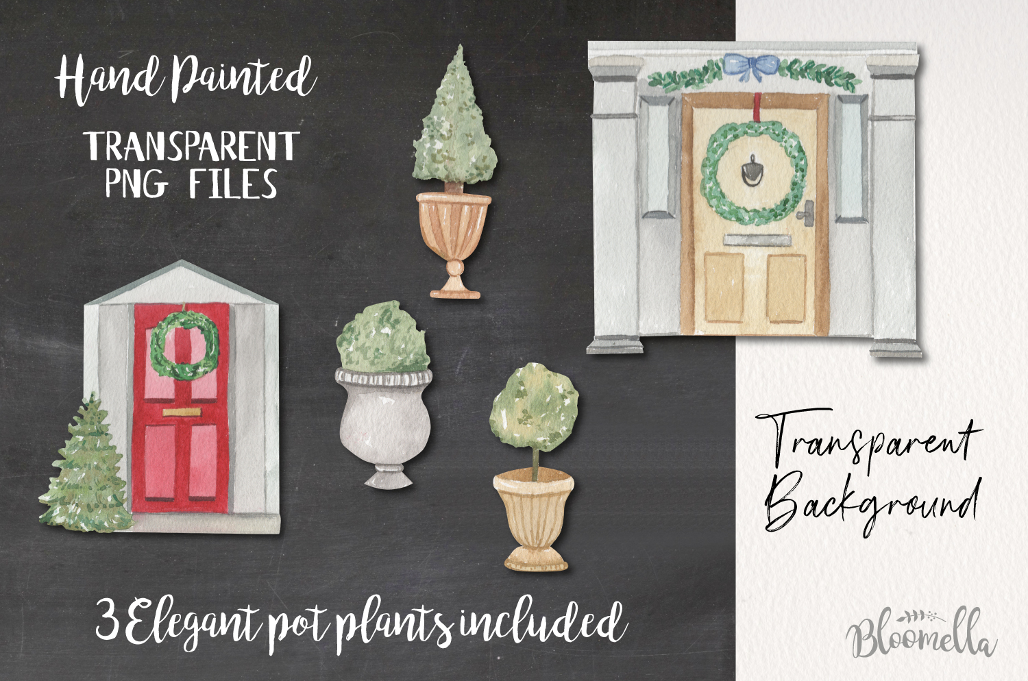 Festive Door Elements Watercolor Bushes Christmas Holidays example image 2