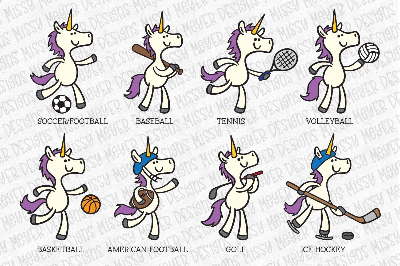 Unicorns Playing Sports - set of 8 unicorn cartooons example image 4