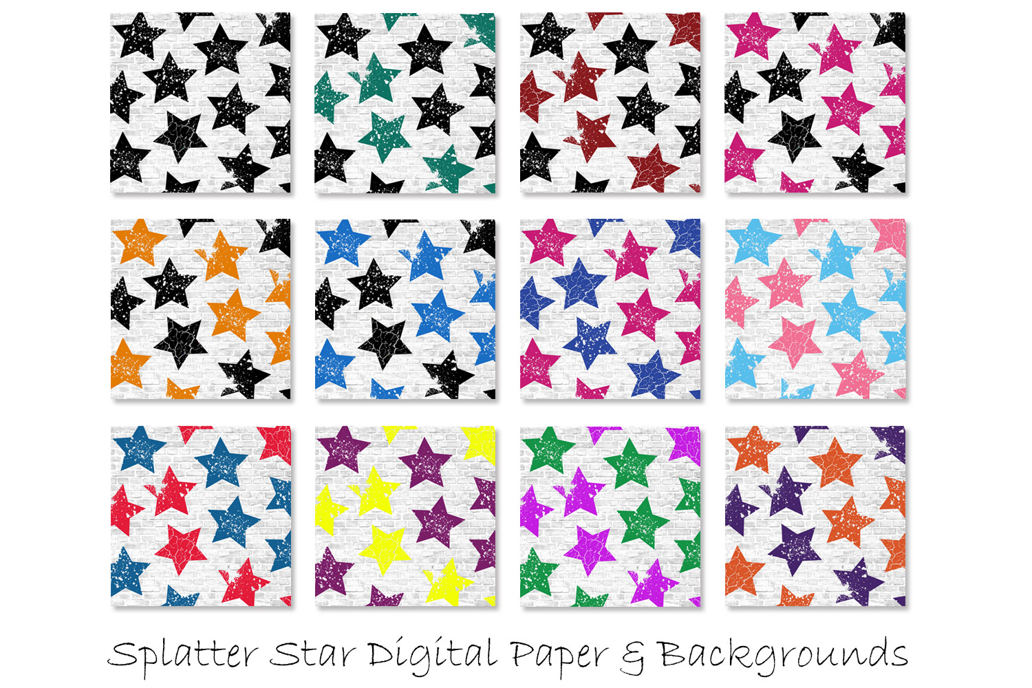 Stars Pattern Digital Papers - Multi-Color Star Backgrounds example image 2
