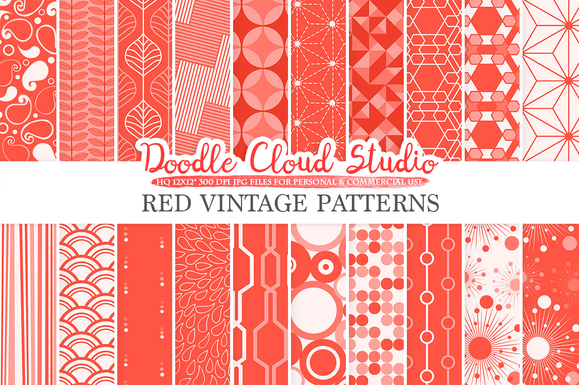 Red Retro digital paper, Geometric Vintage patterns, Scarlet Vermilion digital backgrounds, Instant Download, for Personal & Commercial Use example image 1