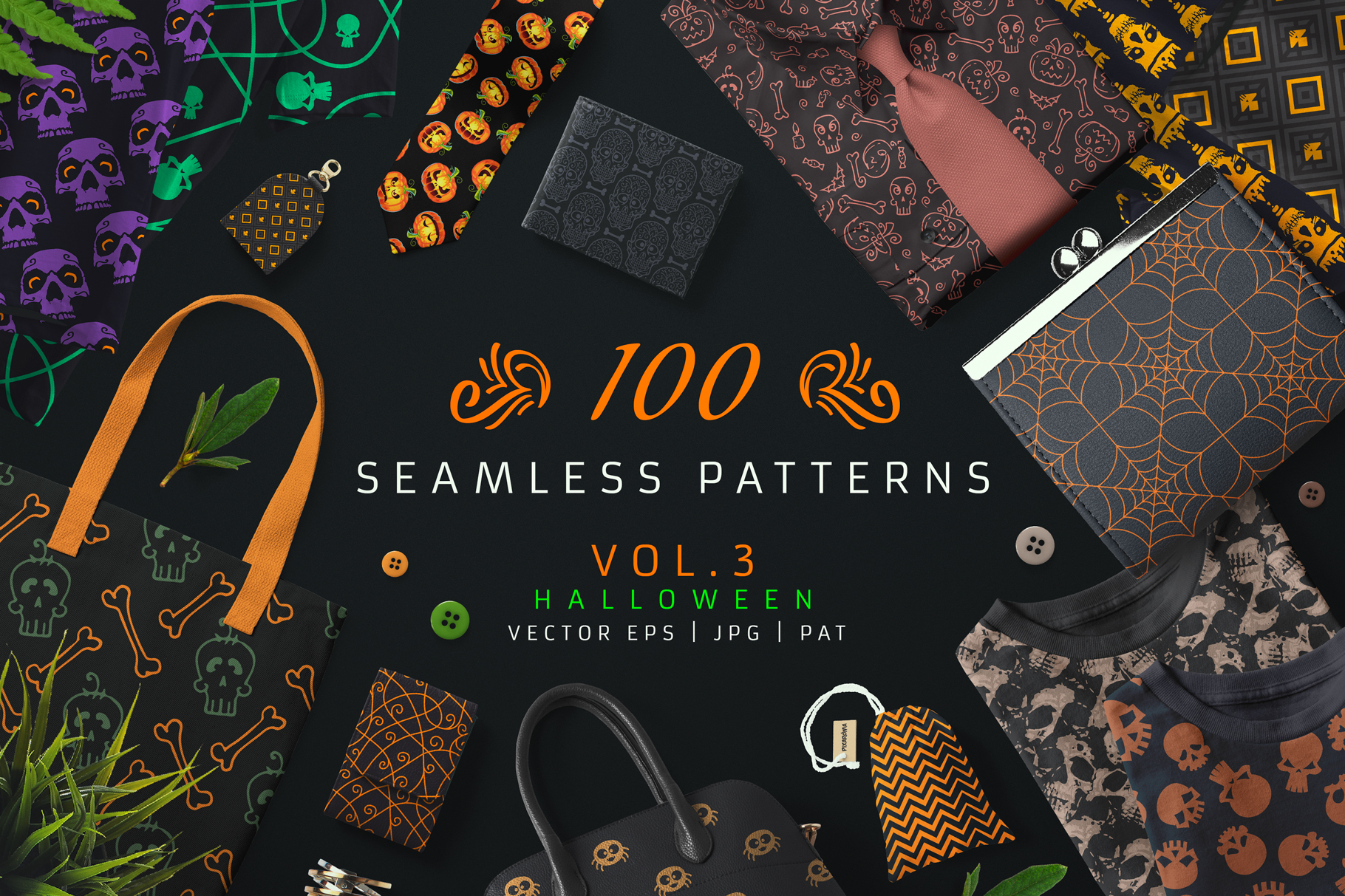 100 Seamless Patterns Vol.3 Halloween example image 1