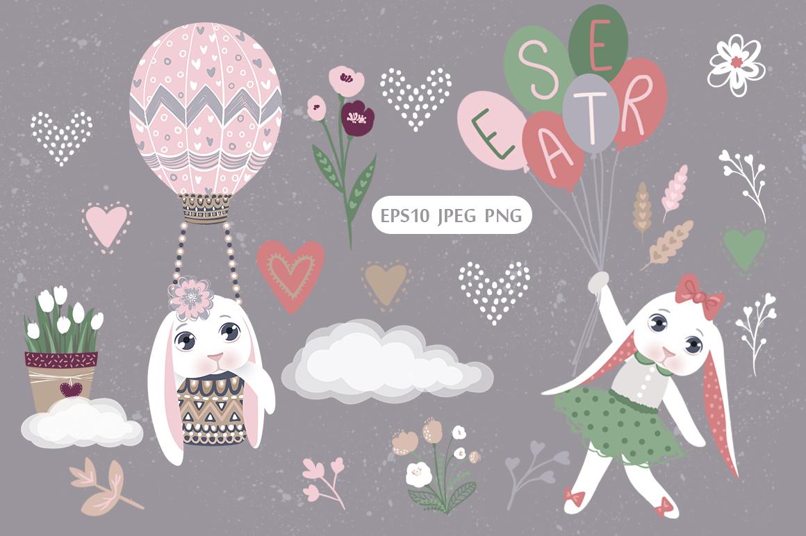 Happy Easter. Bunnies, eggs, flowers example image 4