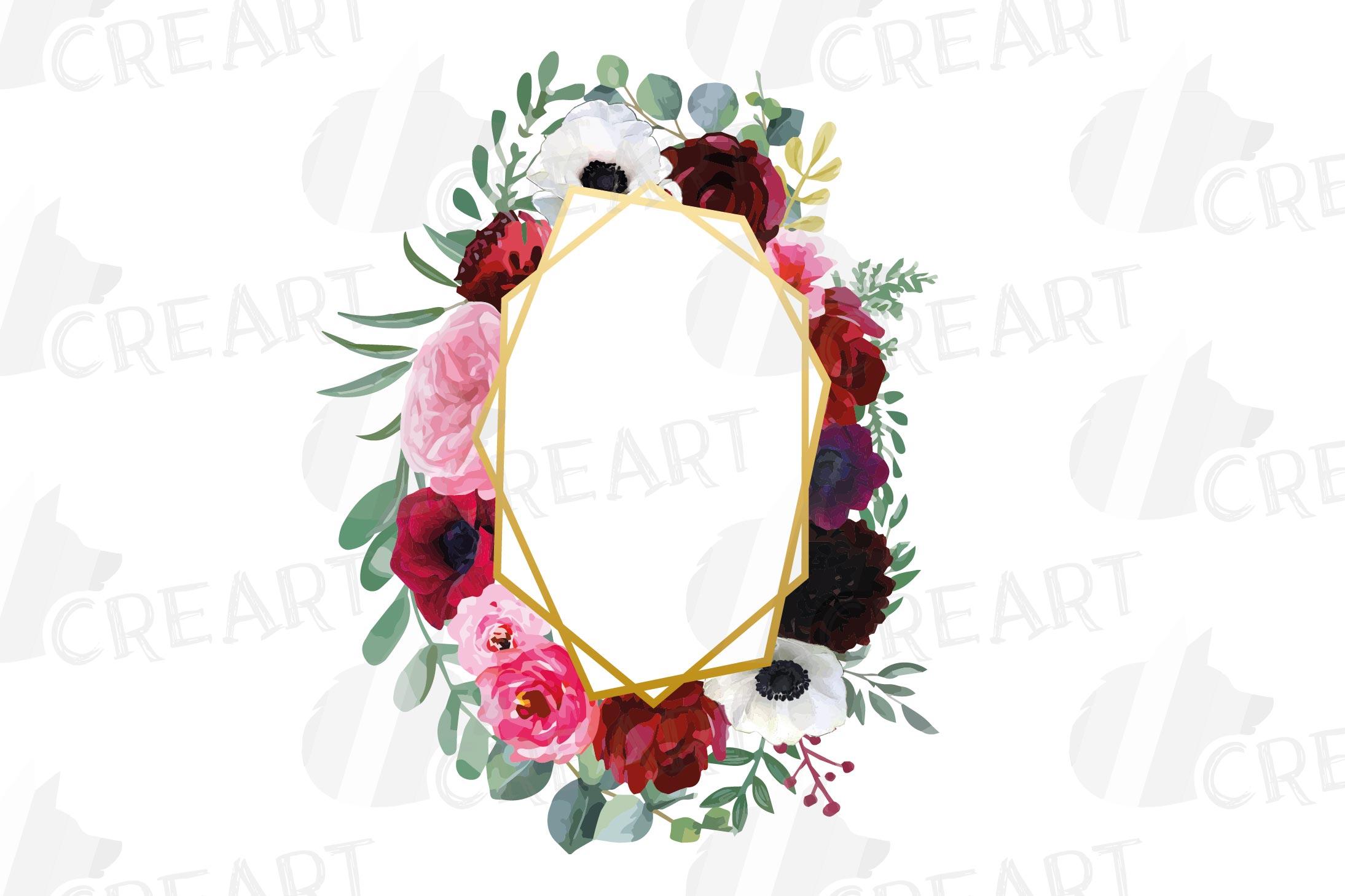 Watercolor elegant floral borders, rose, anemone frames example image 6